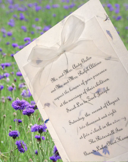 Beautiful Wedding Invitation Idea Using Real Cornflower Flower Petals