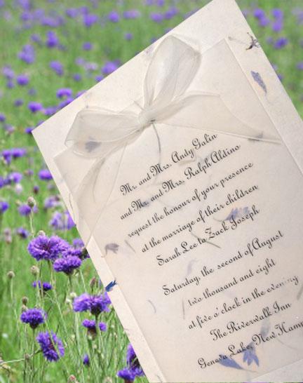 bluebell petal paper invitations