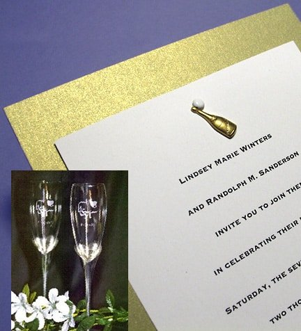 Sparkling Champagne Wedding Invitations with Charm