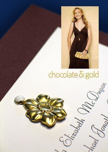 Chocolate and Gold Wedding Invitations