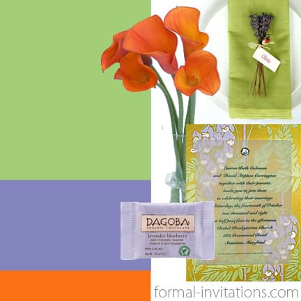 Summer wedding colors- Pear Green, Lavender and Orange