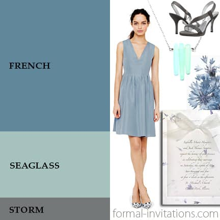 Spring Wedding Colors in Muted Blues and Gray
