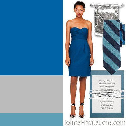 Summer wedding colors in shades of blue and silver