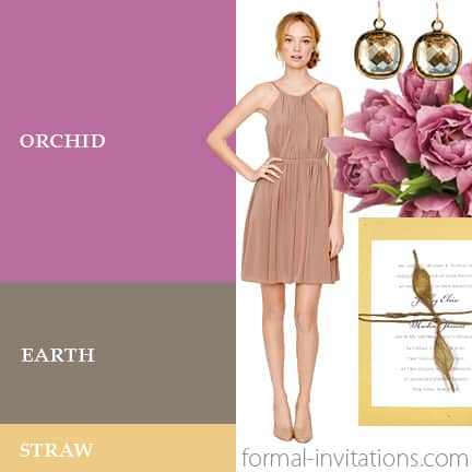 Spring Wedding Colors Idea using Orchid, Earth and Straw
