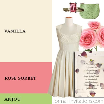 Spring Wedding Colors - Cream, Rose Pink and Anjou Green