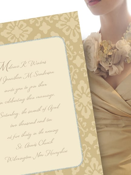 Romantic Custom Printed Wedding Invitations with Vintage Art