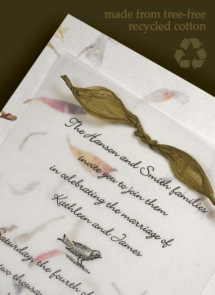 Tree-Free Recycled Cotton Wedding Invitations; 10% OFF Earth Day Deal