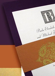 eggplant and rust invitations