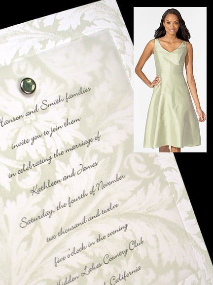 Vintage Pale Green Wedding Invitation Idea with Crystal Brad