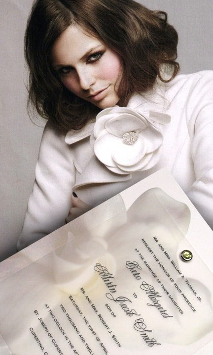 Glorious Gardenia Wedding Invitations with Peridot Crystal Jewel Brad