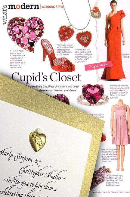 Gorgeous Gold Wedding Invitations with Brass Heart Charm
