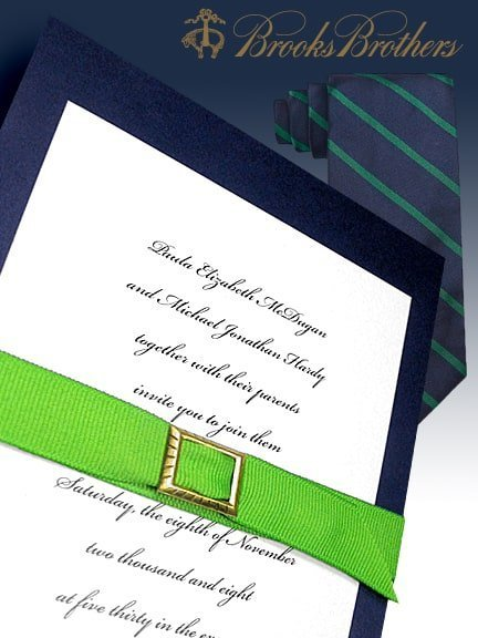 Fabulous Navy Wedding Invitations with Green Grosgrain Belt 98¢