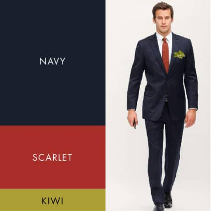 Navy, Scarlet Red and Kiwi Green Wedding Color Palette for Fall