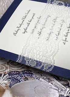 Navy Wedding Invitations with Lace Wrap