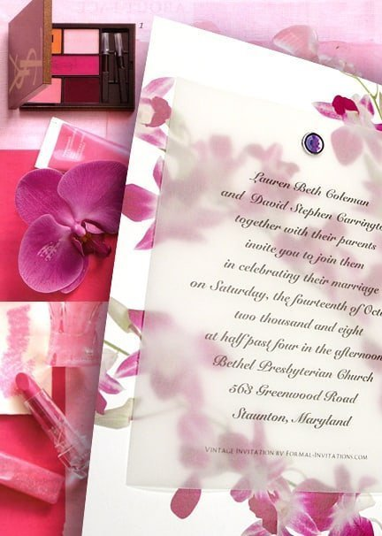 Beautiful Pink and Orchid Wedding Invitation Idea with Amethyst Crystal Brad