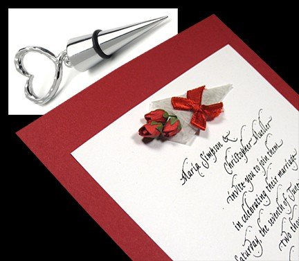 Luxe Wedding Invitations with Paper Rose Bouquet for Less