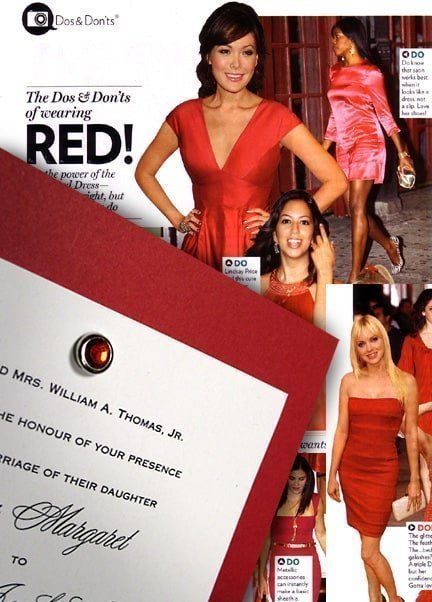 Gorgeous Red Wedding Invitations with Ruby Jewel Brad