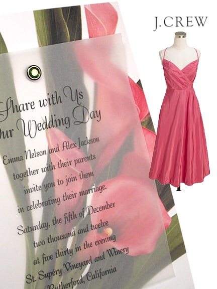 Chic Pink Calla Lily Wedding Invitation Idea with Crystal Brad