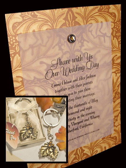 Lavish Rust-Brown Wedding Invitations with Vintage Oak Leaf Design and Crystal Brad 86¢