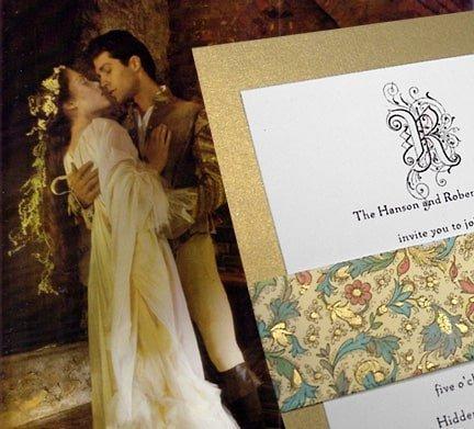 Renaissance-Inspired Gold Romantic Wedding Invitations