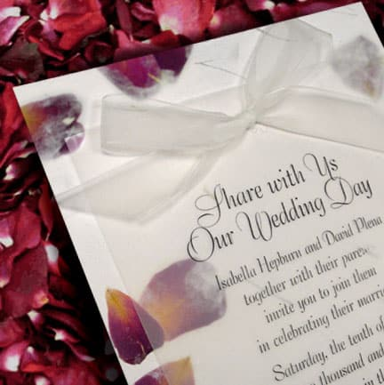 Real Rose Petal Wedding Invitations