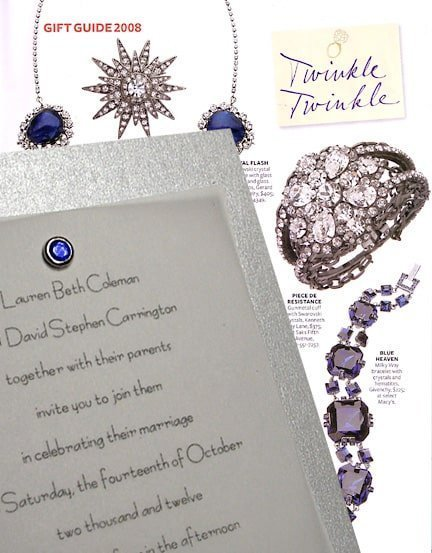 Sparkling Silver and Sapphire Wedding Invitations