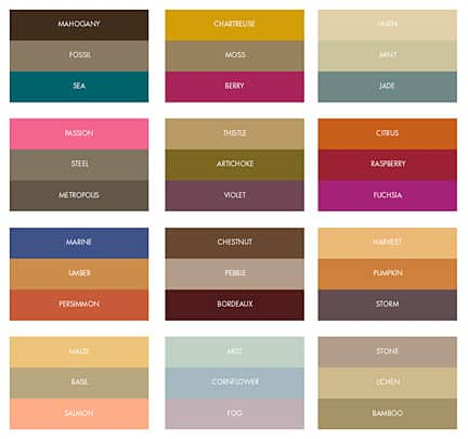 Swatches Based On The Latest Fashions And Trends Formal Invitations Has Put Together Sophisticated Combinations For Fall Wedding Colors 2017