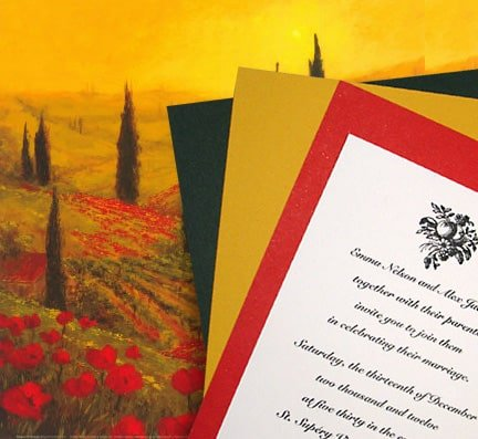 Rich, Old-World Style Tuscany Wedding Invitations