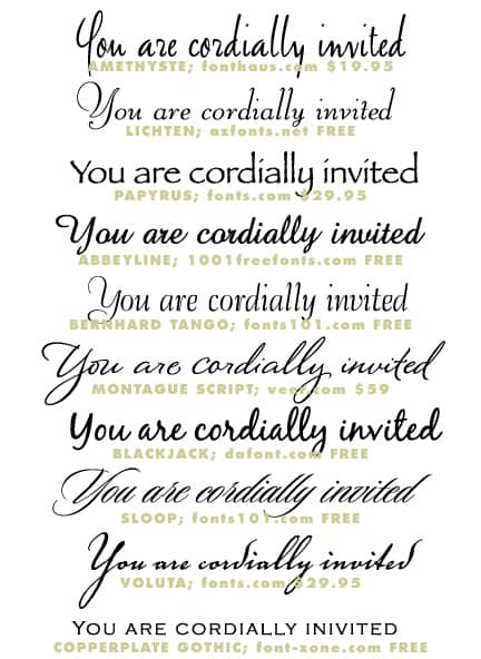 Wedding invitation typeface and font sources formal invitations wedding invitation fonts and typefaces stopboris Images