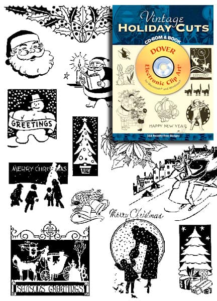 Vintage Holiday Clip Art for Retro Holiday Invitations