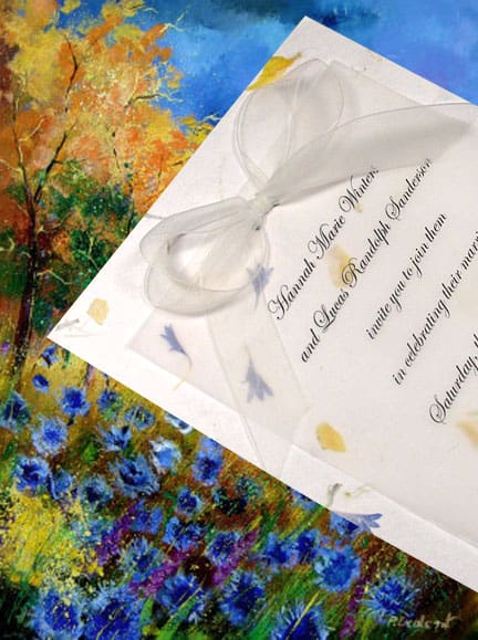 Beautiful Wildflower Wedding Invitations with Real Petals